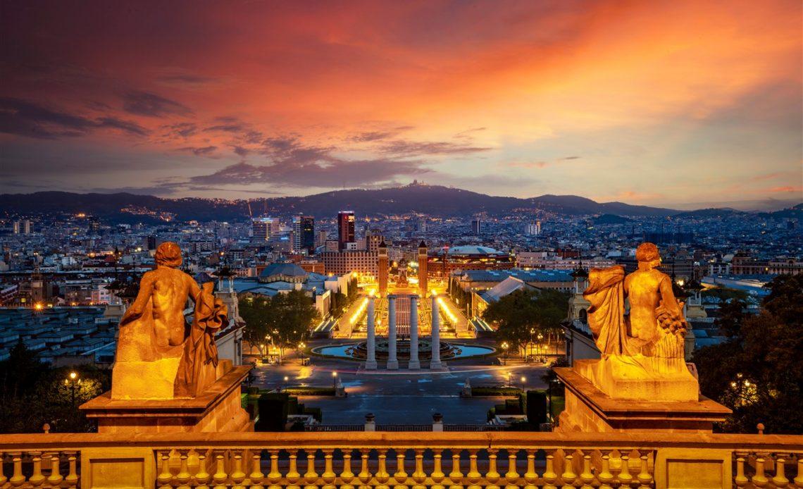 Kilátás Barcelonában a Montjuic-ról